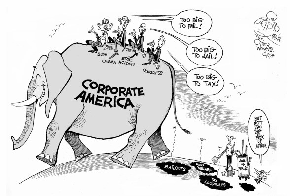 When Corporate America Gets Too Big to Tax, an OtherWords Cartoon by Khalil Bendib