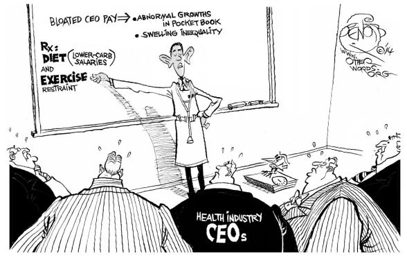 Dr. Spoilsport's CEO Treatment, an OtherWords cartoon by Khalil Bendib
