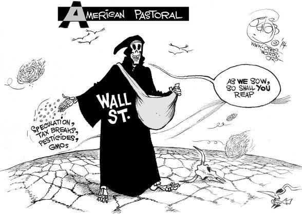 Seeds of Greed, an OtherWords cartoon by Khalil Bendib