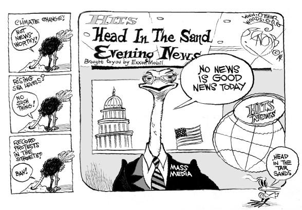 Head in the Tar Sands, an OtherWords cartoon by Khalil Bendib