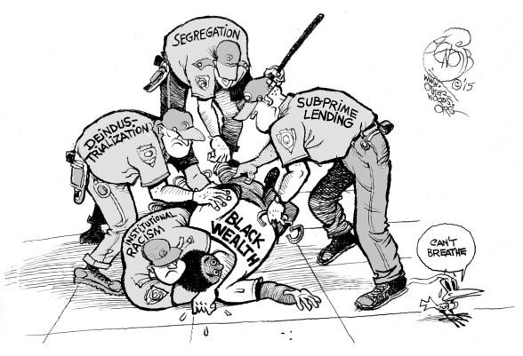 Suffocating Black Wealth, an OtherWords cartoon by Khalil Bendib
