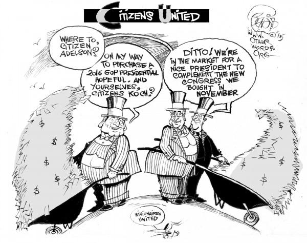 Billionaires United, an OtherWords cartoon by Khalil Bendib