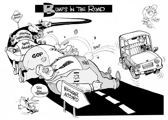 Bumps in the Road, an OtherWords cartoon by Khalil Bendib