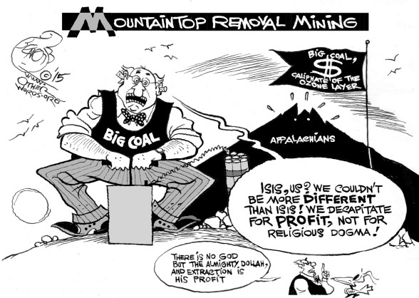 Mountaintop Decapitation, an OtherWords cartoon by Khalil Bendib