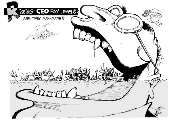 Rising CEO Pay Levels, an OtherWords cartoon by Khalil Bendib