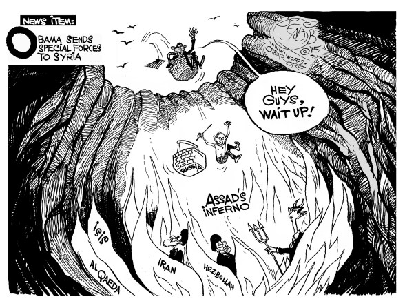 Syria cartoon with Assad as devil special forces Obama hell