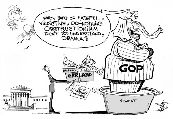 Supreme Obstruction, an OtherWords cartoon by Khalil Bendib