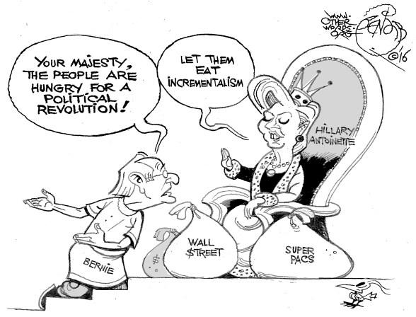 Let Them Eat Incrementalism, an OtherWords cartoon by Khalil Bendib