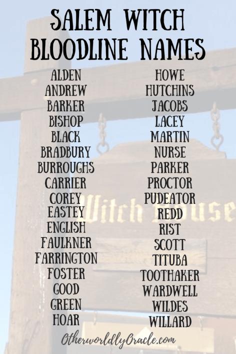 Salem Witch Bloodline Names A-Z