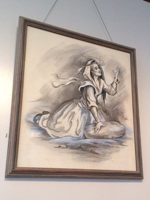 An artist's depiction of Moll Dyer, the witch, which hangs in the Historical Society's building.