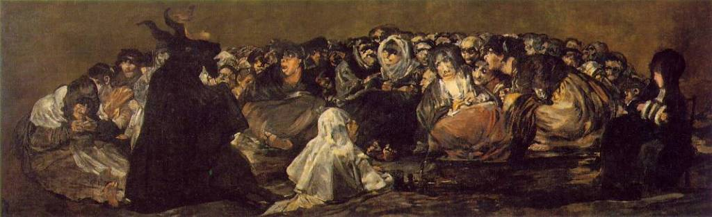 A painting showing witches being led by a devil with horns in black.