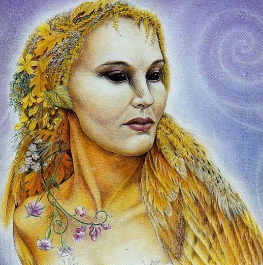 Blodeuwedd was a goddess in owl mythology of Celtic Welsh tales.