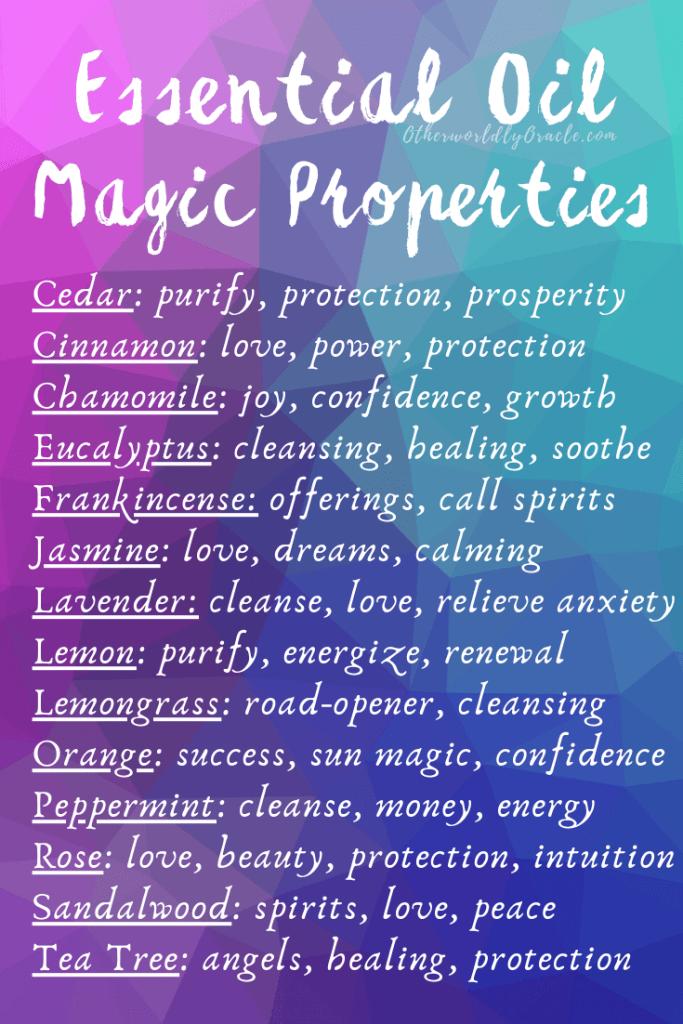 Essential Oils Magical Properties Chart