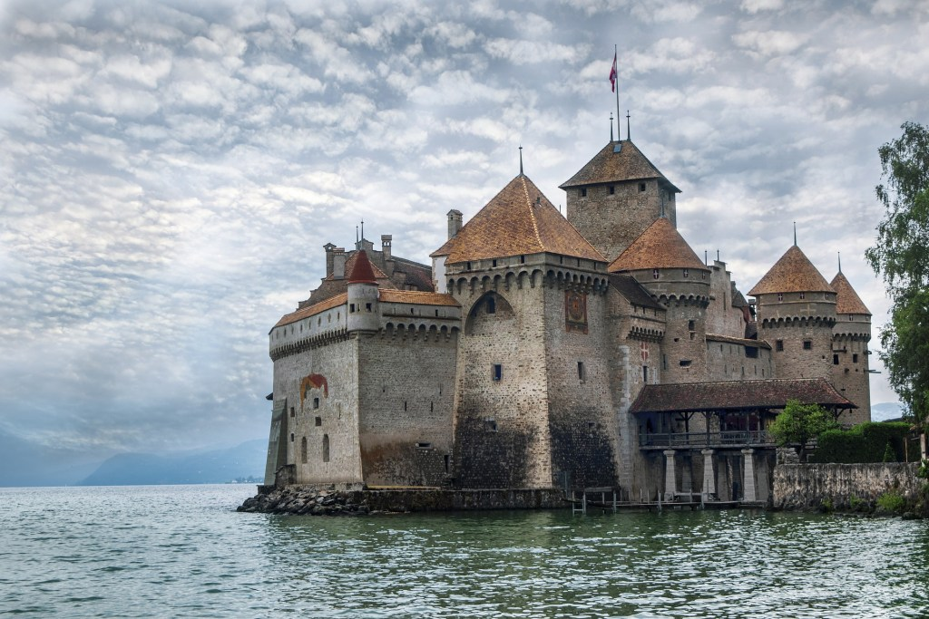 A haunted and magical castle from medieval times - chillon castle.