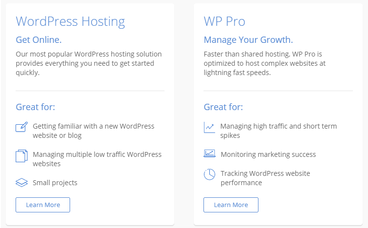 Blue Host WordPress Hosting Plans