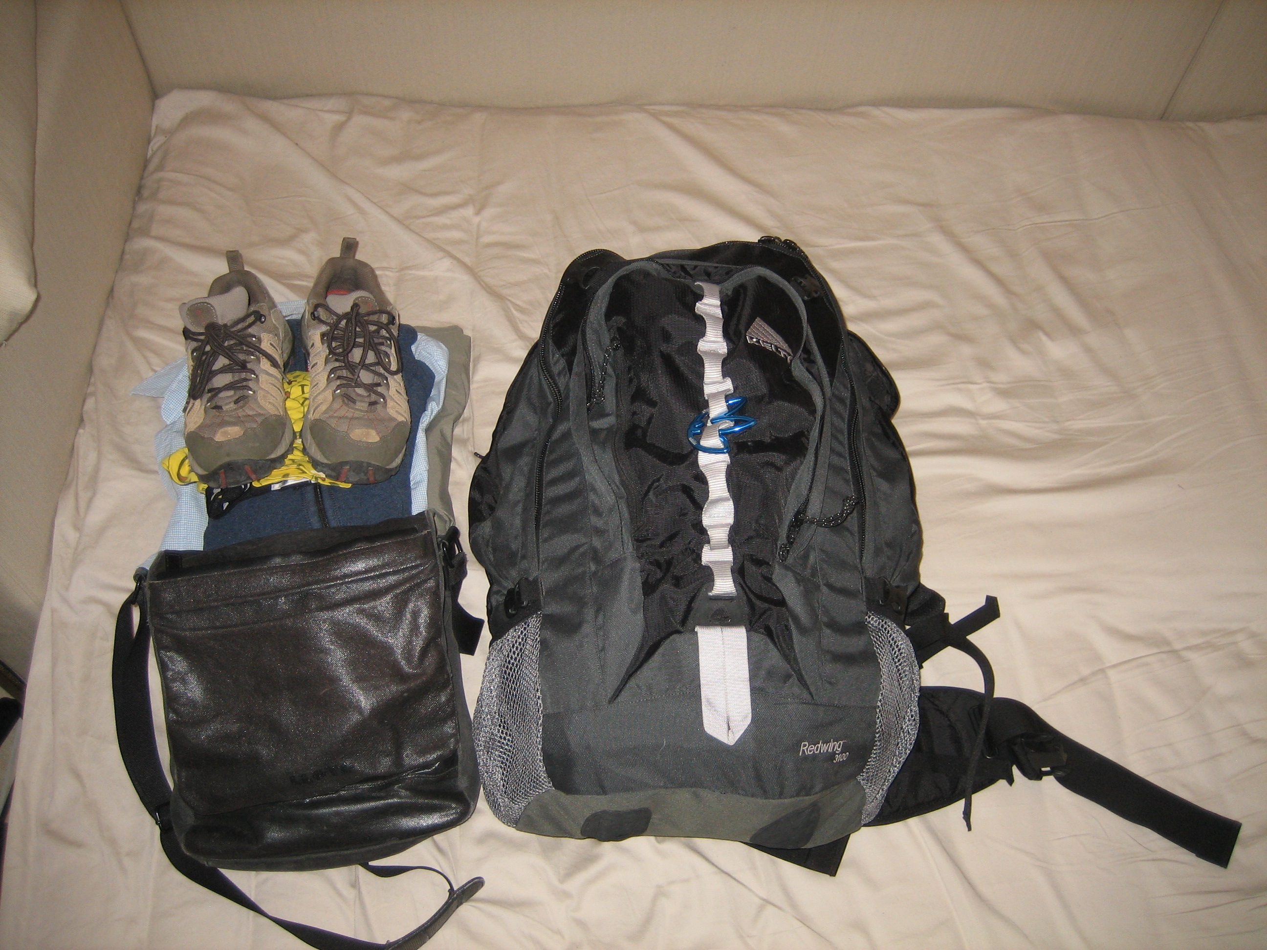 Everything packed and ready to go (except the travelling clothes)