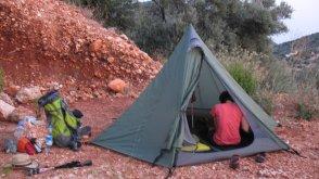 Unser Zeltplatz auf eienr Baustelle.