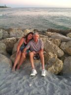 Randy and Joan at beach on rocks