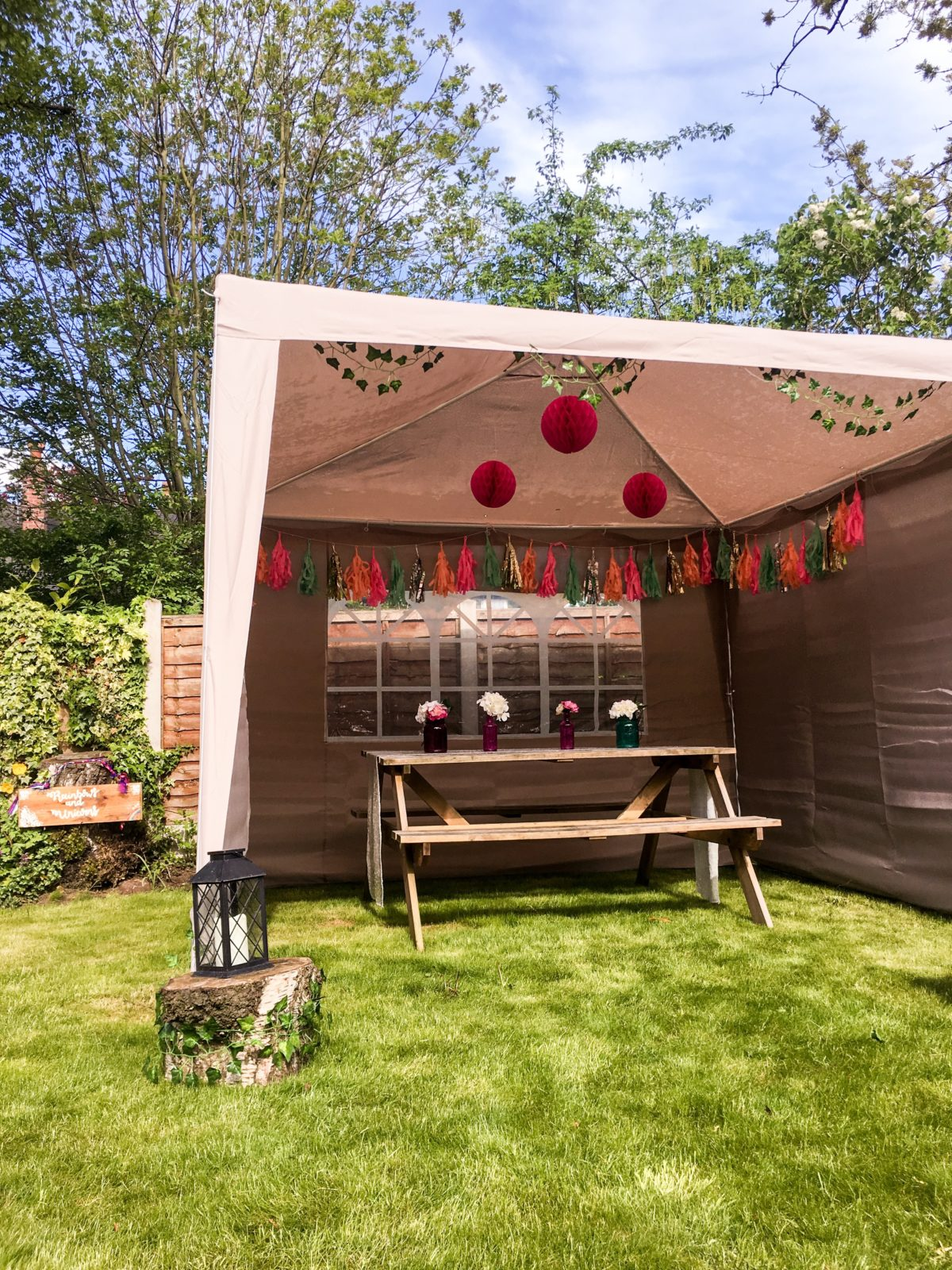 garden gazebo ideas for an outdoor garden party or festival themed birthday party