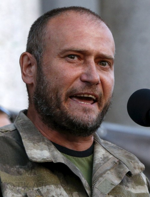 Dmytro Yarosh, leader of the Ukrainian far-right radical group Right Sector and parliamentary deputy speaks during an anti-government rally in Kiev