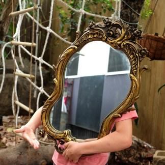 gold ornate mirror 75 x 45 cm