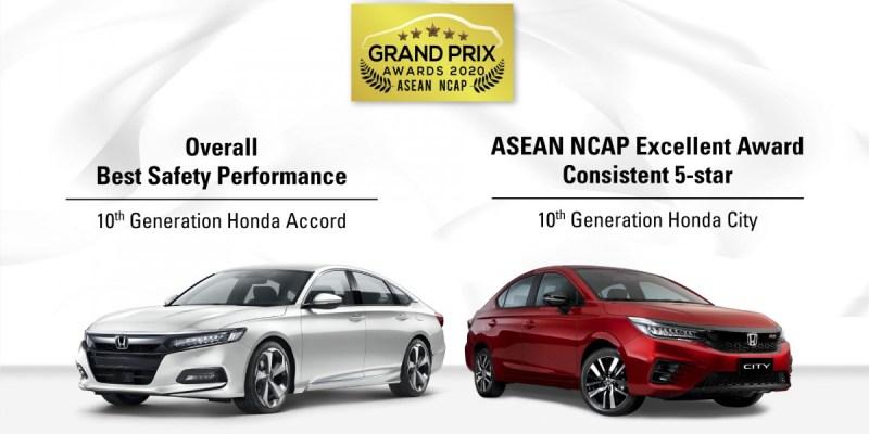 Honda Accord Dan City Raih Empat Penghargaan Asean NCAP