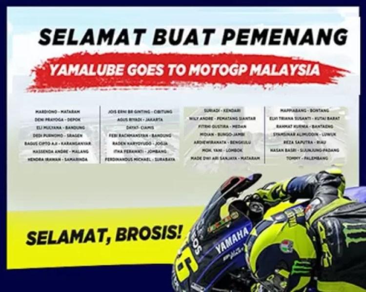 Yamaha Umumkan Pemenang Yamalube Goes to MotoGP