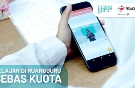Terkait Corona, Belajar di Ruangguru Bebas Kuota Melalui Telkomsel