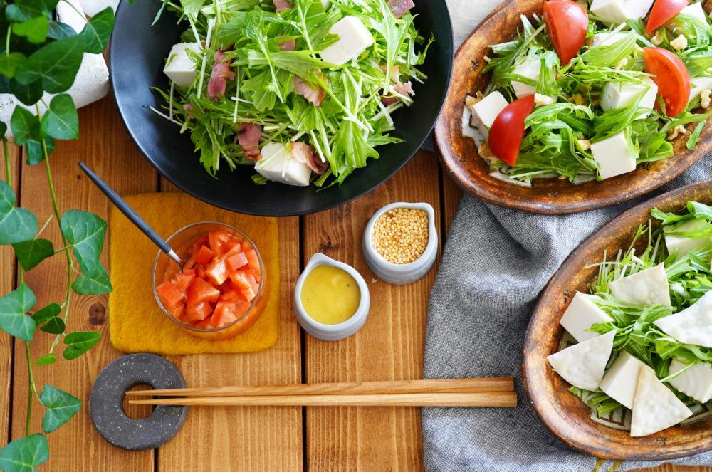 水菜と豆腐のドレッシングと手作りドレッシング