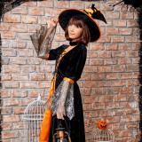 ロウィンコスプレ halloween 可愛い 衣服 ワンピース 帽子付き チョーカー 魔法使い 大人用 かわいい