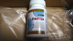 届いた新品のスラミーゴのサプリボトルの画像