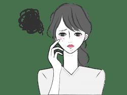 ニキビの悩みをずっと抱えたままの女性の画像
