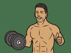 筋肉ムキムキのジムのトレーナーの画像