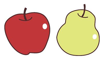 リンゴ型と洋ナシ型のイラスト画像