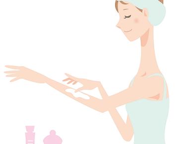 脂肪溶解クリームを塗って美ボディケアをしている女性の画像
