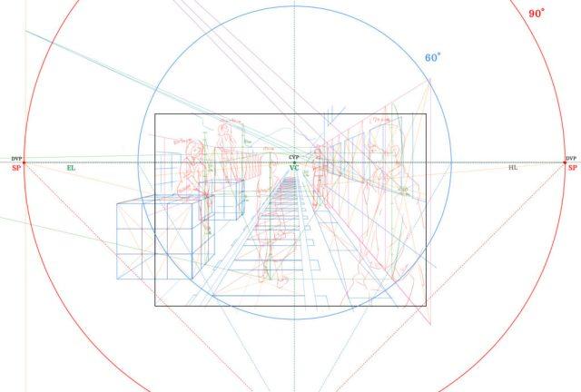 1点透視図法・作例①レイアウト
