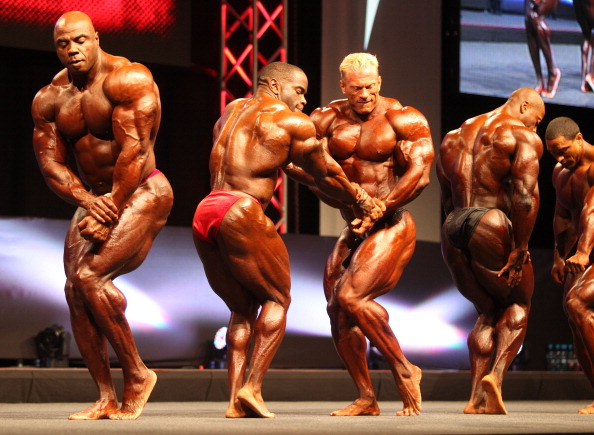 PRAGUE, CZECH REPUBLIC - OCTOBER 27: Bodybuilders perform during the IFBB EVL's Prague Pro Bodybuilding and Bikini Championships on October 27, 2012 in Prague, Czech Republic. (Photo by Eduard Erben/isifa/Getty Images)