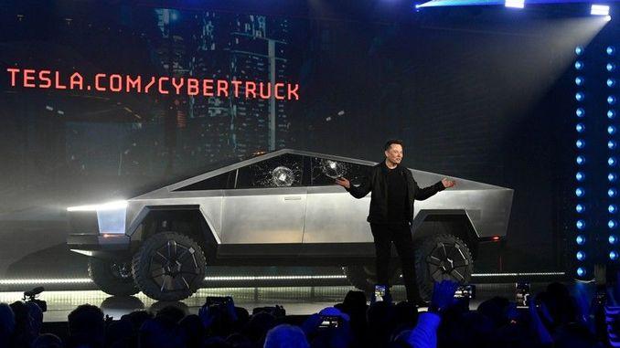 tesla pickup model cybertrucki introduced