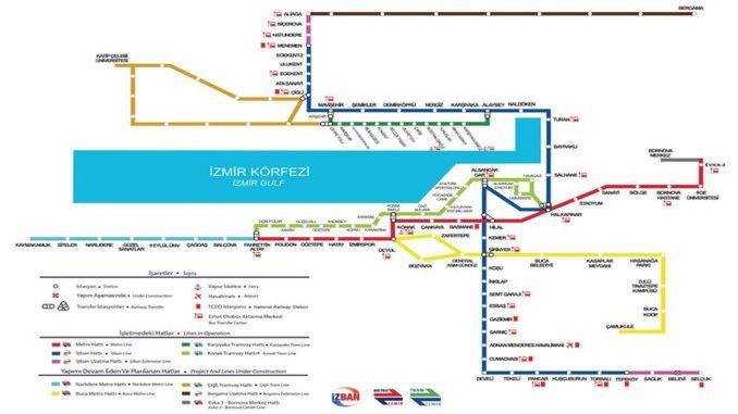 Mapa ng Izmir Rail Systems Network