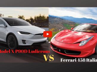 Tesla Model X P90D Ludicrous vs Ferrari 458 Italia