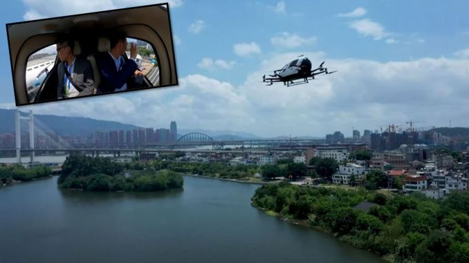cinde surucusuz drone taksi hang ilk kez yolcuyla uctu