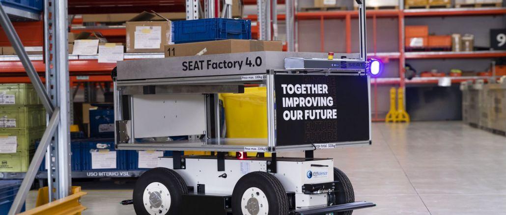 Robot di động thông minh đang làm việc tại nhà máy sản xuất ghế martorell