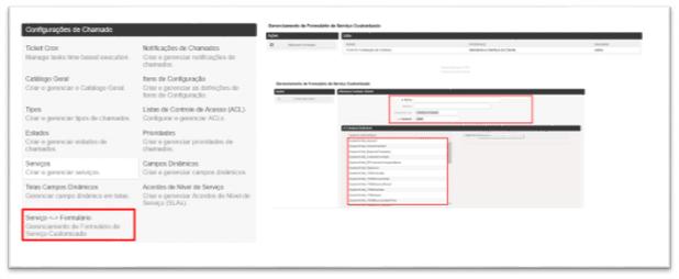 Formulário personalizado por serviço