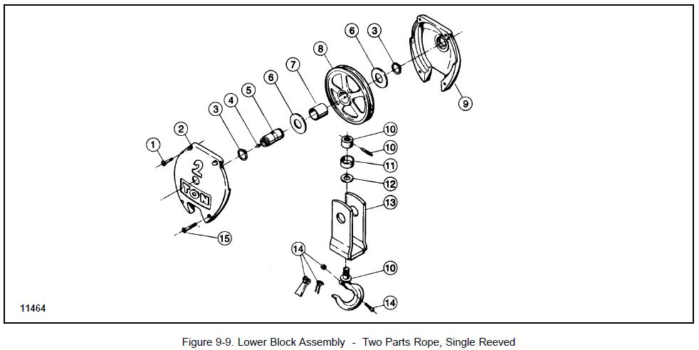 Figure 9-9 ~ Lower Block Assembly 2Parts Rope Single