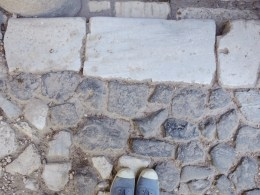Ancient pavement at the entrance to Santo Stefano.