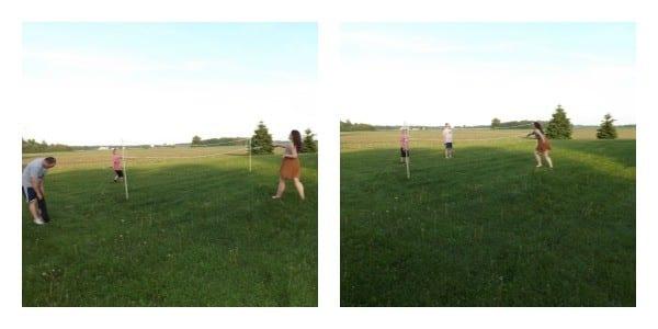 Fun Family outdoor sports: badminton