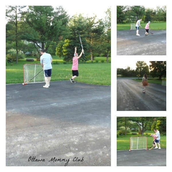 Family outdoot games: ball hockey & scooter #cbias