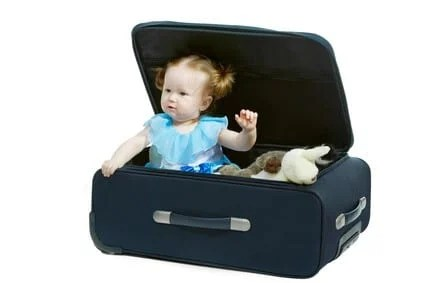 Baby in a travel bag suitcase