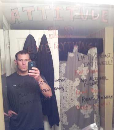 See I really do write them on my mirror.  Sorry for the mean face, it's the AM.