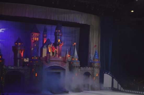 Gaston from Beauty and the Beast at the top of the drawbridge. Photo by Samantha Ball